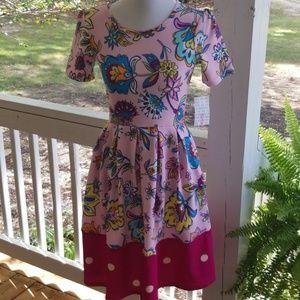 LulaRoe Amelia dress 0936 Pink/Floral/polka dots